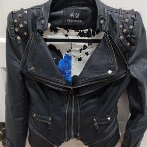 PU leather motorcycle jacket